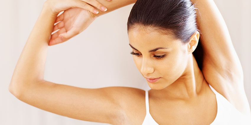 Woman waxed arms